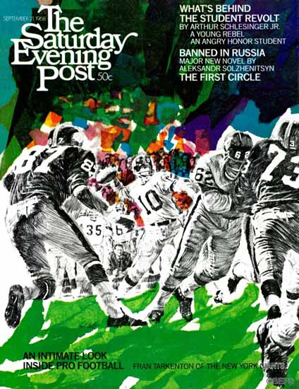 Paul Calle Saturday Evening Post Inside Pro Football 1968_09_21 | The Saturday Evening Post Graphic Art Covers 1931-1969