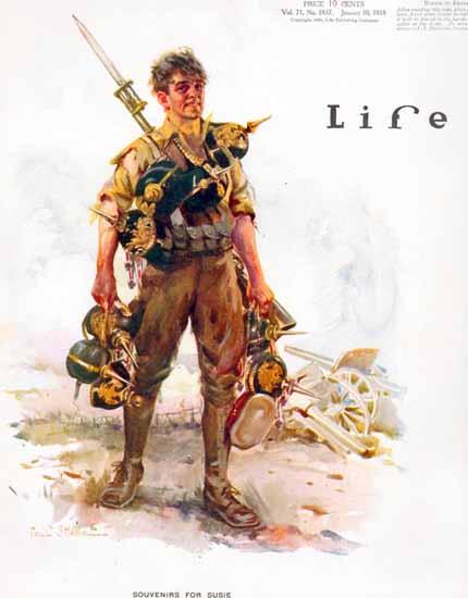 Paul Stahr Life Humor Magazine 1918-01-10 Copyright | Life Magazine Graphic Art Covers 1891-1936