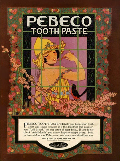 Pebeco Toothpaste Girl Bird | Sex Appeal Vintage Ads and Covers 1891-1970