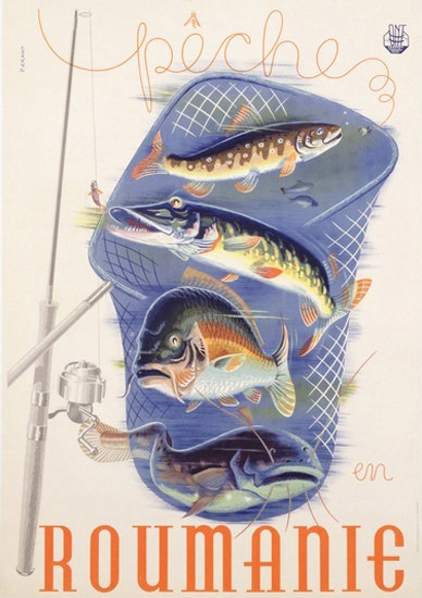 Peche En Roumanie1932 Fishing In Romania | Vintage Travel Posters 1891-1970