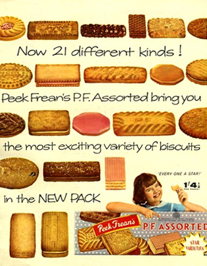Peek Freans Biscuits 21 Different Kinds Assorted | Vintage Ad and Cover Art 1891-1970