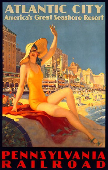 Pennsylvania Railroad Atlantic City Sea 1930s | Sex Appeal Vintage Ads and Covers 1891-1970