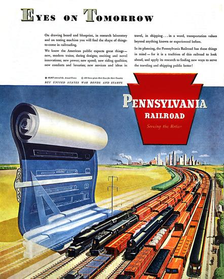 Pennsylvania Railroad Eyes On Tomorrow 1945 | Vintage Travel Posters 1891-1970