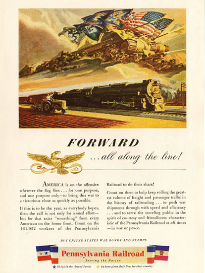 Pennsylvania Railroad Forward Along Line 1944 | Vintage War Propaganda Posters 1891-1970