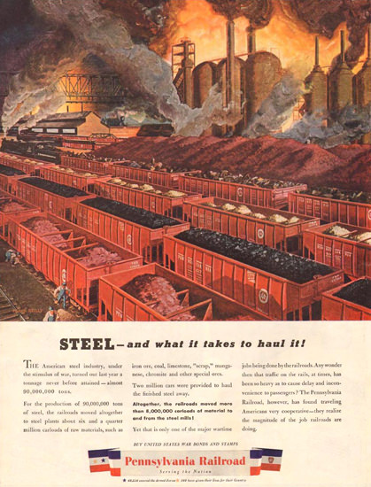 Pennsylvania Railroad Haul The Steel 1944 | Vintage Ad and Cover Art 1891-1970