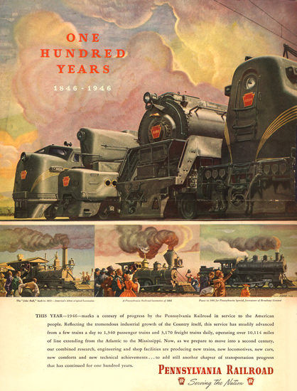 Pennsylvania Railroad One Hundred Years 1946 | Vintage Travel Posters 1891-1970