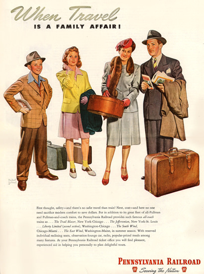 Pennsylvania Railroad Travel Family Affair 1946 | Vintage Travel Posters 1891-1970