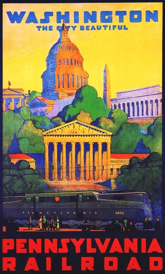 Pennsylvania Railroad Washington DC 1930s | Vintage Travel Posters 1891-1970