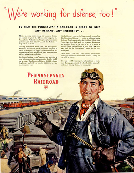 Pennsylvania Railroad Working For Defense Too | Vintage War Propaganda Posters 1891-1970