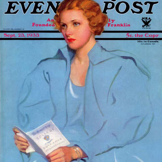 Penrhyn Stanlaws Saturday Evening Post 1933_09_23 Copyright crop | Best of Vintage Cover Art 1900-1970