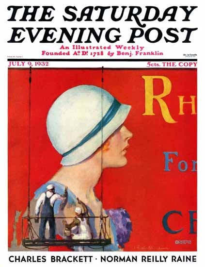 Penrhyn Stanlaws Saturday Evening Post Billboard Painters 1932_07_09 | The Saturday Evening Post Graphic Art Covers 1931-1969