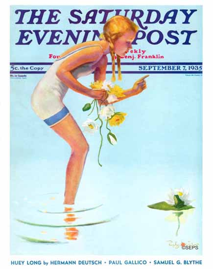 Penrhyn Stanlaws Saturday Evening Post Girl and Water Lilies 1935_09_07 | The Saturday Evening Post Graphic Art Covers 1931-1969
