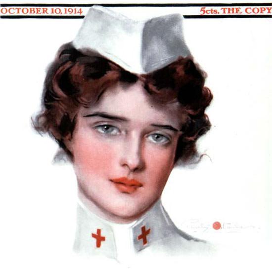 Penrhyn Stanlaws Saturday Evening Post Nurse 1914_10_10 Copyright crop | Best of Vintage Cover Art 1900-1970