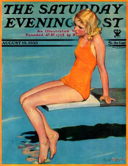 Penrhyn Stanlaws Saturday Evening Post On the Diving Board 1933_08_19 | The Saturday Evening Post Graphic Art Covers 1931-1969