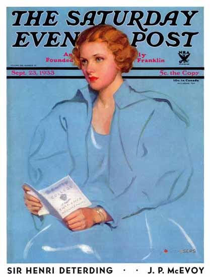 Penrhyn Stanlaws Saturday Evening Post Requirements 1933_09_23 | The Saturday Evening Post Graphic Art Covers 1931-1969