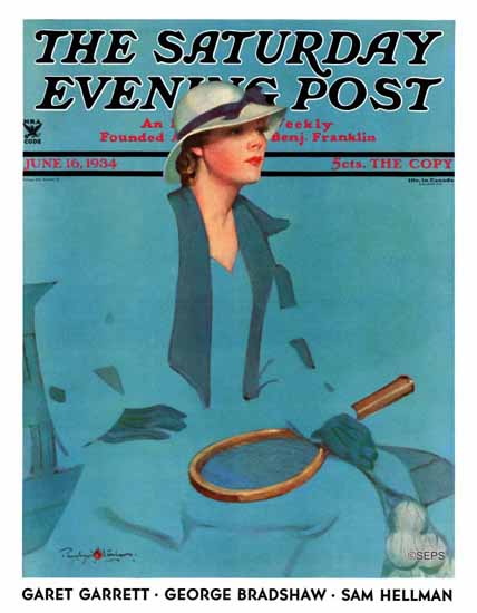 Penrhyn Stanlaws Saturday Evening Post Tennis in Blue 1934_06_16 | The Saturday Evening Post Graphic Art Covers 1931-1969