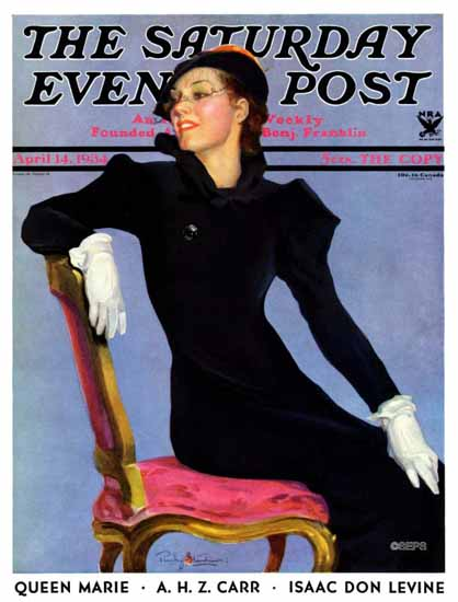 Penrhyn Stanlaws Saturday Evening Post Woman in Black 1934_04_14 | The Saturday Evening Post Graphic Art Covers 1931-1969