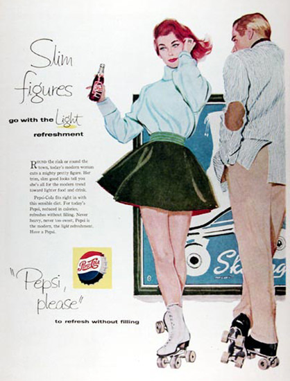 Pepsi-Cola 1958 Rollerskating Beauty | Sex Appeal Vintage Ads and Covers 1891-1970