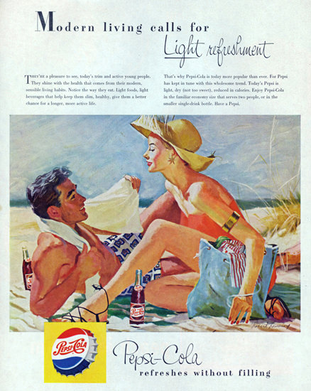 Pepsi-Cola Beach Modern Living Calls For Pepsi 1950s | Sex Appeal Vintage Ads and Covers 1891-1970