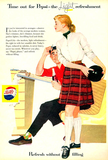 Pepsi-Cola Bowling Girl 1957 | Sex Appeal Vintage Ads and Covers 1891-1970