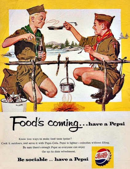 Pepsi-Cola Boy Scouts Cooking Foods Coming 1959 | Vintage Ad and Cover Art 1891-1970