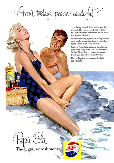 Pepsi-Cola Girl Beach Life Todays People Pepsi 1954 | Sex Appeal Vintage Ads and Covers 1891-1970