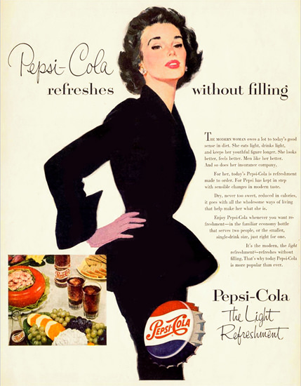 Pepsi-Cola Lady Pepsi Refreshes Without Filling 1953   Sex Appeal Vintage Ads and Covers 1891-1970