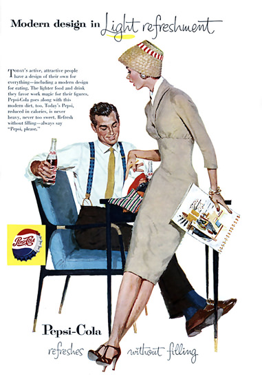 Pepsi-Cola Modern Design In Light Refreshment 1957 | Sex Appeal Vintage Ads and Covers 1891-1970