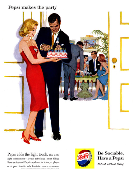Pepsi-Cola Pepsi Makes The Party 1960   Vintage Ad and Cover Art 1891-1970