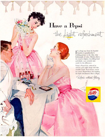 Pepsi-Cola Pink Evening Dress Girls 1957 | Sex Appeal Vintage Ads and Covers 1891-1970