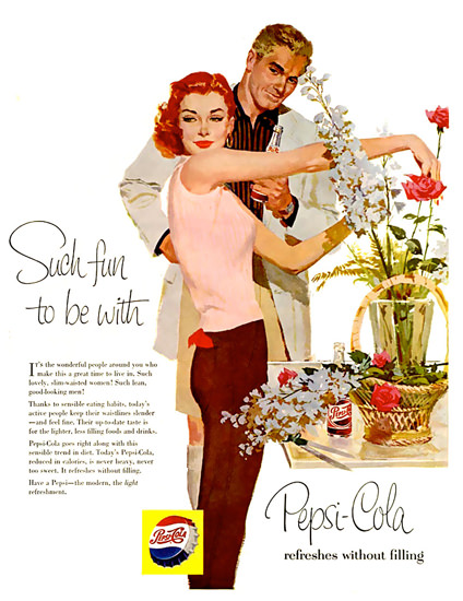 Pepsi-Cola Roses Flowers Such Fun To Be Pepsi 1958   Vintage Ad and Cover Art 1891-1970