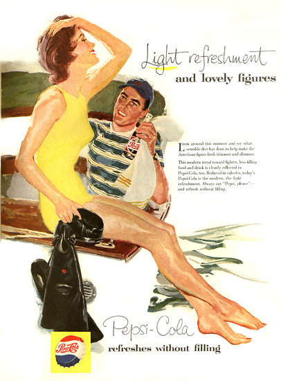 Pepsi-Cola Skin-Dive Scuba Diver Pepsi 1957 | Sex Appeal Vintage Ads and Covers 1891-1970