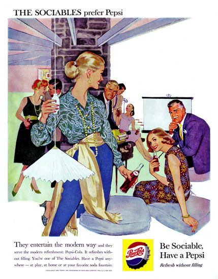 Pepsi-Cola Slideshow The Sociables Prefer Pepsi 1950s | Vintage Ad and Cover Art 1891-1970
