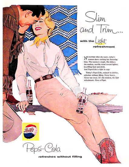 Pepsi-Cola Slim And Trim Girl Pepsi 1958 | Sex Appeal Vintage Ads and Covers 1891-1970