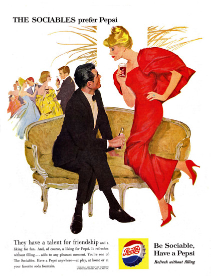 Pepsi-Cola Sofa Couch The Sociables Prefer Pepsi 1959 | Sex Appeal Vintage Ads and Covers 1891-1970