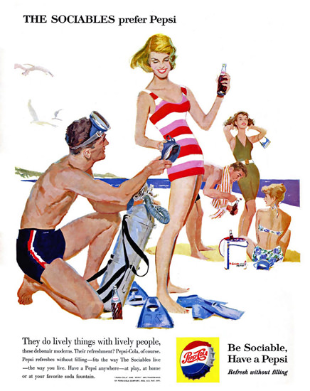 Pepsi-Cola The Beach The Sociables Prefer Pepsi 1950s | Vintage Ad and Cover Art 1891-1970