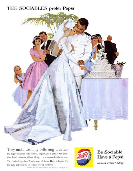 Pepsi-Cola Wedding The Sociables Prefer Pepsi 1960   Vintage Ad and Cover Art 1891-1970