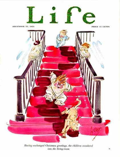 Percy L Crosby Life Humor Magazine 1924-12-25 Copyright   Life Magazine Graphic Art Covers 1891-1936