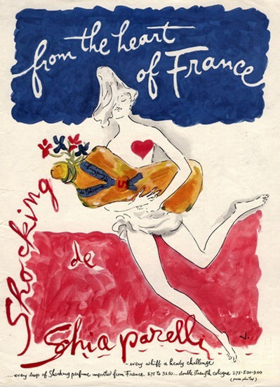 Perfume Shocking De Schiaparelli Heart Of France | Sex Appeal Vintage Ads and Covers 1891-1970