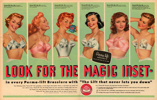 Perma Lift Bra Brassiere Never Lets You Down | Sex Appeal Vintage Ads and Covers 1891-1970