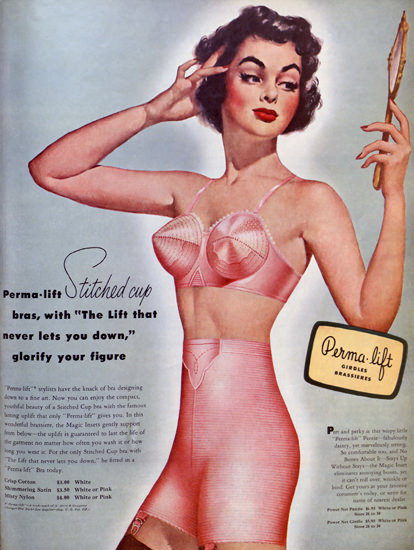Perma Lift Bra Stitched Cup Lingerie 1951 | Sex Appeal Vintage Ads and Covers 1891-1970