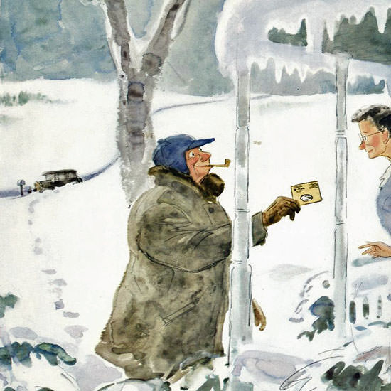 Perry Barlow The New Yorker 1945_01_27 Copyright crop | Best of Vintage Cover Art 1900-1970