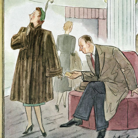Perry Barlow The New Yorker 1952_01_26 Copyright crop | Best of Vintage Cover Art 1900-1970