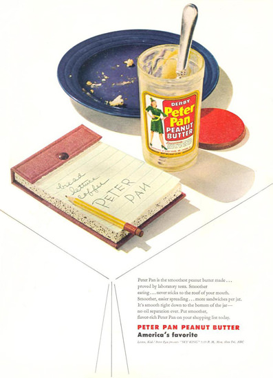 Peter Pan Peanut Butter Table 1947 | Vintage Ad and Cover Art 1891-1970