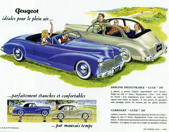 Peugeot 203 Luxe Berline N Cabriolet 1952   Vintage Cars 1891-1970