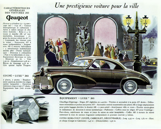 Peugeot 203 Luxe Coupe 1952 Prestige Voiture | Vintage Cars 1891-1970
