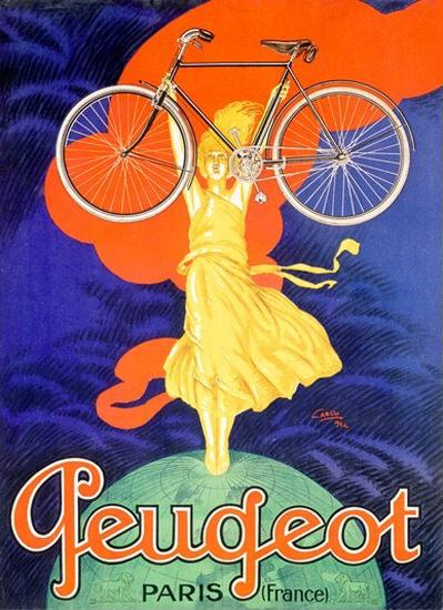 Peugeot Bicycle Girl Globe Paris France J Carlu | Vintage Travel Posters 1891-1970