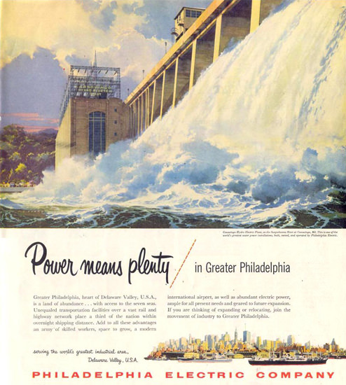 Philadelphia Electric Co Power Means Plenty 1955 | Vintage Ad and Cover Art 1891-1970