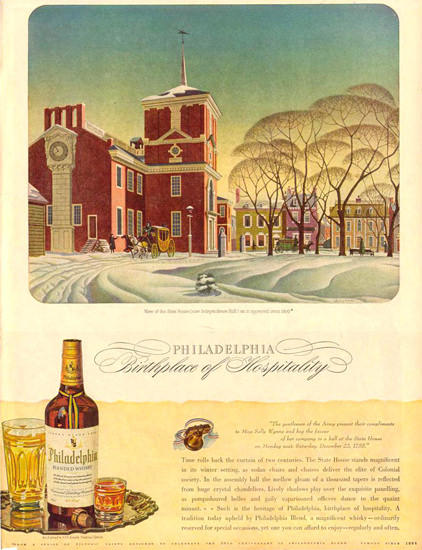 Philadelphia Whiskey State House 1943 | Vintage Ad and Cover Art 1891-1970