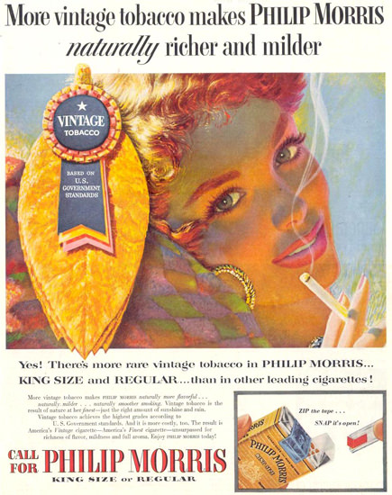 Philip Morris Cigarettes Girl 1955 | Sex Appeal Vintage Ads and Covers 1891-1970